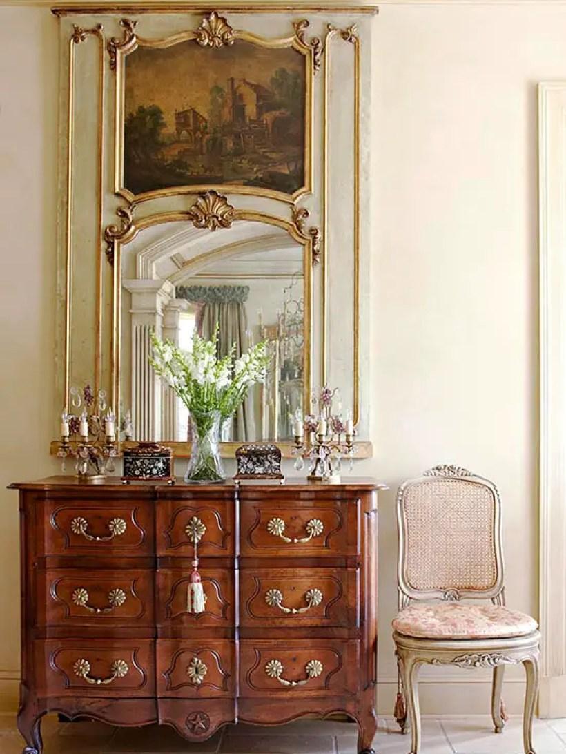 Antique mirror, chest, chair