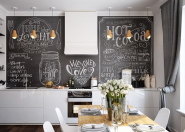Kitchen-with-scandinavian-design-white-walls-chalkboard-features