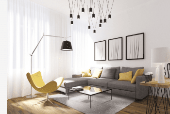 Modern-living-room-with-unique-light-fixture