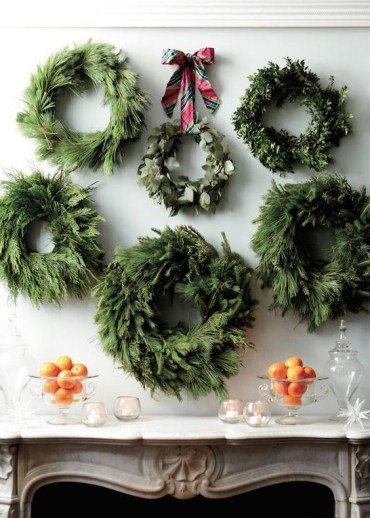 02-a-gallery-of-wall-wreaths-to-highlight-your-mantel-or-home-bar-at-the-party