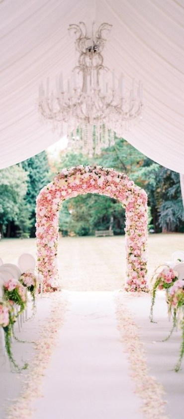 1 18-pink-floral-arch-and-aisle-decor-and-white-petals