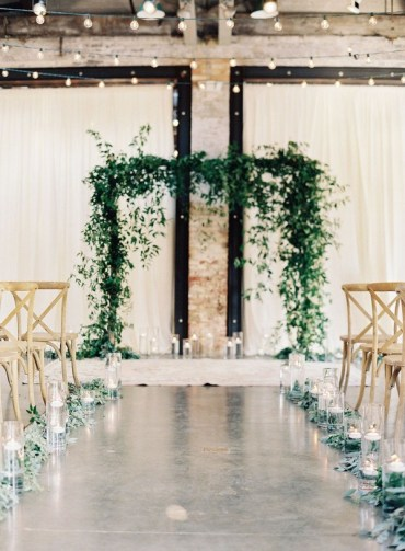 1 industrial-wedding-ceremony-decoration-ideas-with-greenery-garlands-aisle-and-arches
