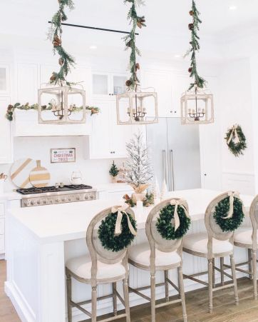2-wreaths-on-the-back-of-kitchen-bar-chairs-via-@alifedotowsky