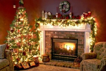 Christmas-decoration-ideas-fireplace-mantelpiece-garland-lights-candles