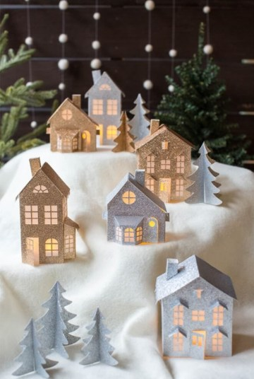 Scandinavian-christmas-paper-house-village