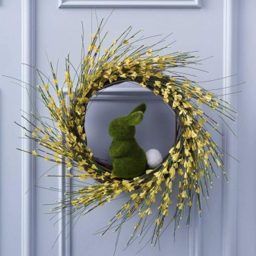 1 green-bunny-with-spiral-wreath-in-yellow-for-easter