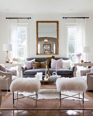 Cool-living-room-design-with-sheepskin-stools
