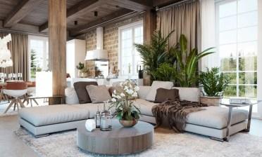 Circular-wooden-table-rustic-living-room-design