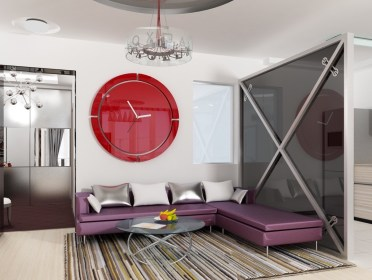 Large-red-clock-purple-couch-colourful-living-room