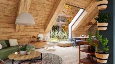 Wooden-walls-and-ceiling-rustic-living-room-set