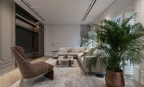 Apartment interior design for a single women with full of coziness and tender 2