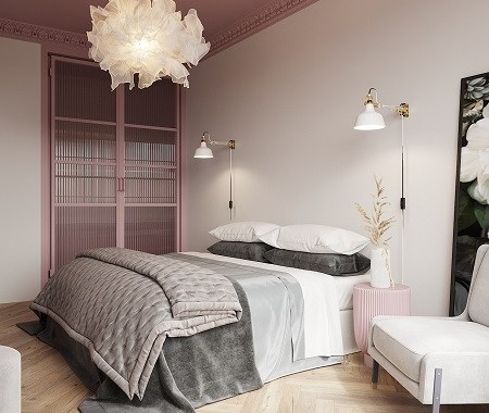 Beautiful bedroom with pink ceiling that gives a romantic atmosphere 1
