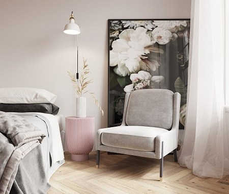 Beautiful bedroom with pink ceiling that gives a romantic atmosphere 3