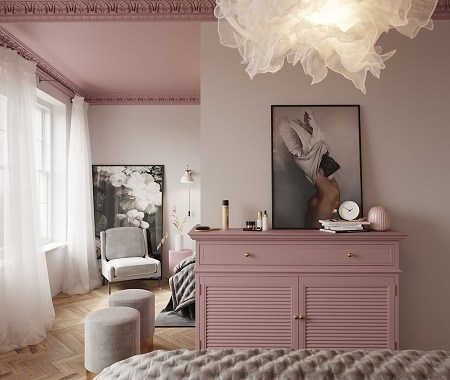 Beautiful bedroom with pink ceiling that gives a romantic atmosphere 4