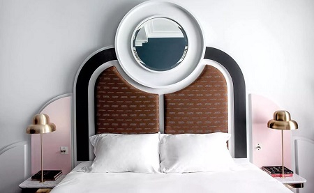 Bedroom with awesome headboard