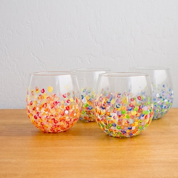 Colorful hand-dotted DIY Colored Creative Ideas To Update Your Glassware To The Next Level