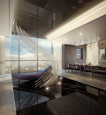 Luxury penthouse design with dramatic touches 3