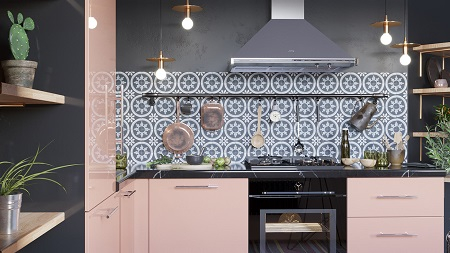 Pretty pink kitchen decor that timeless and chic with patterned tile backdrop 1