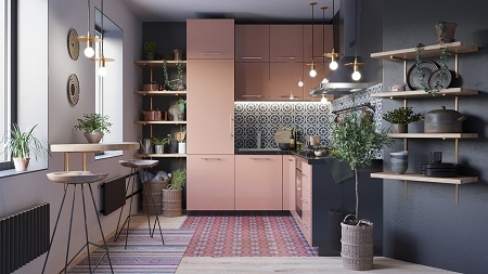 Pretty pink kitchen decor that timeless and chic with patterned tile backdrop 2