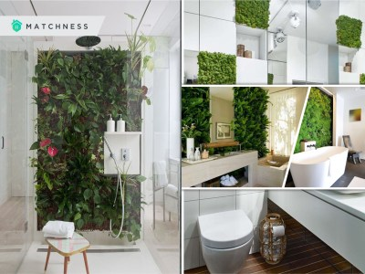 Spring bathroom decor ideas with living wall 2