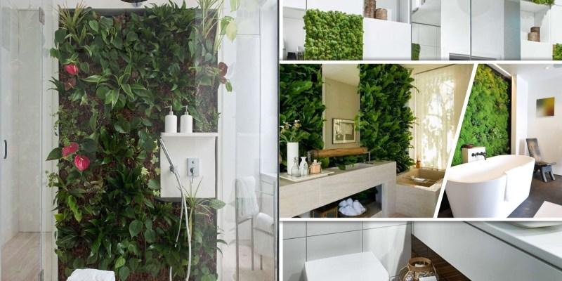 Spring bathroom decor ideas with living wall 2