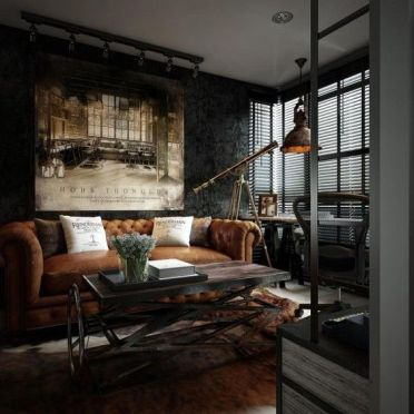 A-dark-industrial-room-with-a-leather-sofa-a-wood-and-metal-table-a-vintage-metal-pendant-lamp-and-a-fur-rug