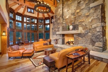 Awesome-rustic-living-room-stone-fireplace-sofa-set-armchair-chandelier