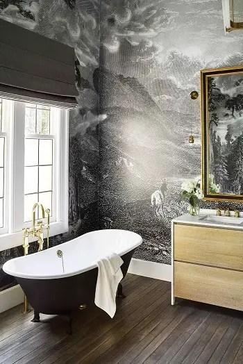 Contemporary black bathroom