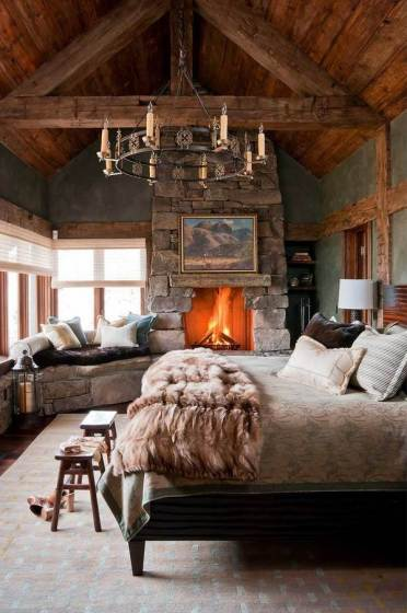 Fabulous-rustic-bedroom-decor-stone-fireplace-design-ideas-iron-chandelier