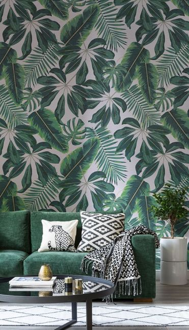 2-14-mixed-tropical-leaf-wallpaper-and-a-matching-emerald-sofa-are-ideal-for-a-summer-living-room