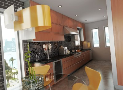 Brown and yellow masculine kitchen