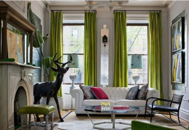 Chartreuse-living-room-curtains