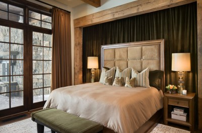 Contemporary bedroom with a wooden frame