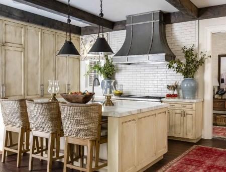 Kitchen with slender subway tile