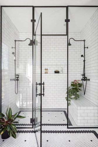 Traditional bathroom with walk-in shower