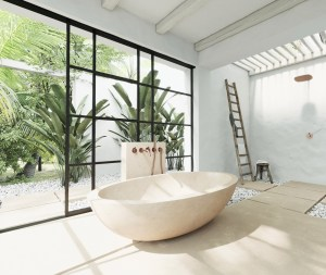 Vast bathroom design with naturally inspired adventure for a serenity atmosphere 1.