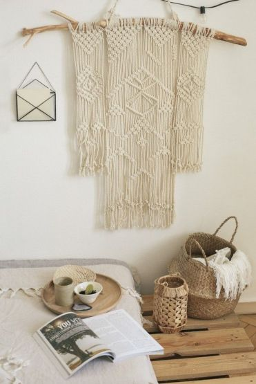 Rustic-style-home-decor-macrame-on-dry-wood-branch