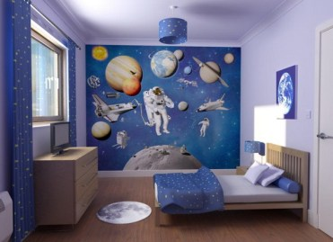 Space-theme-wall-decor-for-kids-bedroom