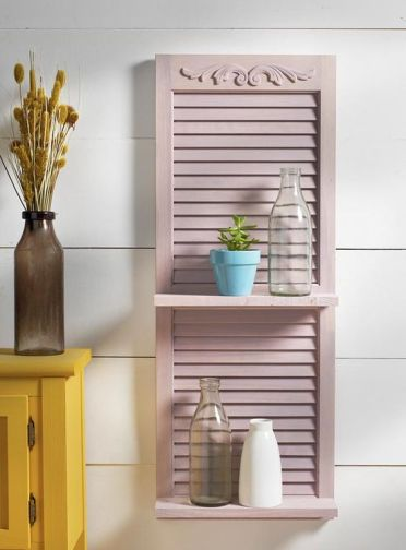 05-a-blush-painted-shutter-with-shelves-is-a-cute-idea-to-add-country-charm-to-any-space