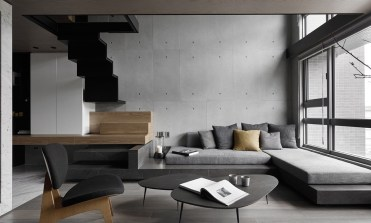 1-concrete-wall-zigzag-staircase-gray-color-schemes-living-room-1