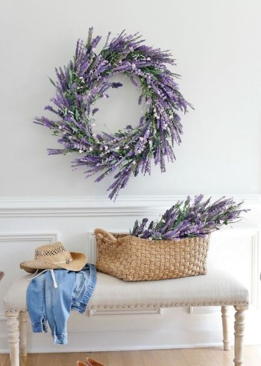2-13-a-faux-lavender-wreath-and-some-lavender-in-a-basket-for-a-cute-romantic-entryway