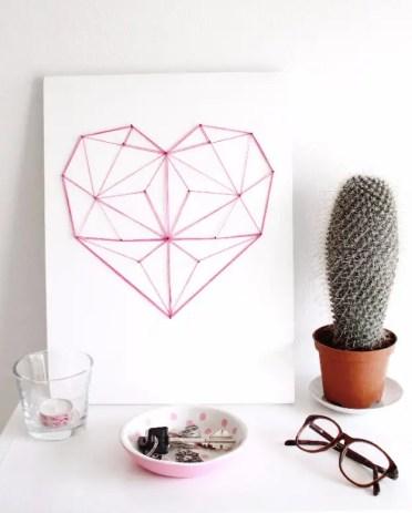 Cuore di corde geometriche fai-da-te