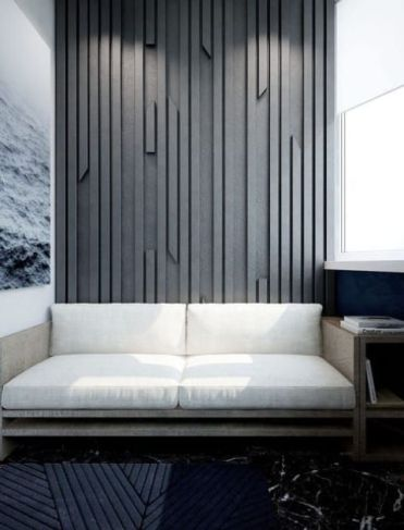 A-textural-accent-wall-done-with-wooden-slabs-attach-to-a-plywood-sheet-and-painted-in-an-elegant-grey-shade