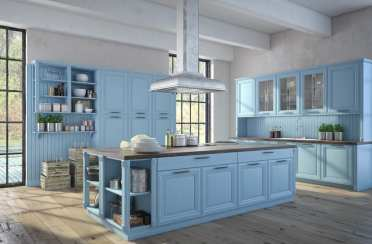 Blue-color-country-kitchen-with-wood-flooring