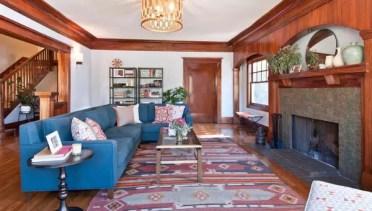 Ethnic-carpets-aztec-rug-in-living-room-design-blue-sofa