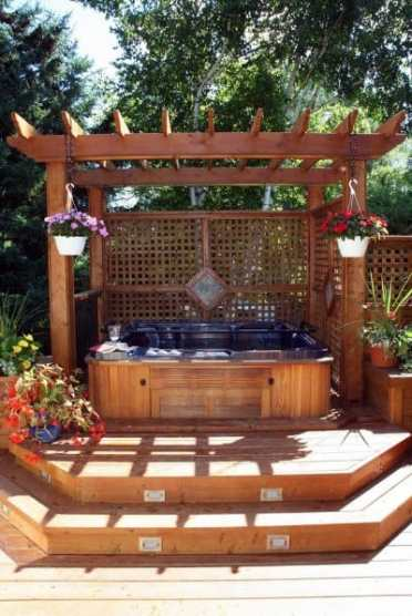 Exterior-ideas-hot-tub-deck-with-wood-pergola-cover