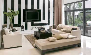 Living-room-black-white-striped-wall-modern-furniture