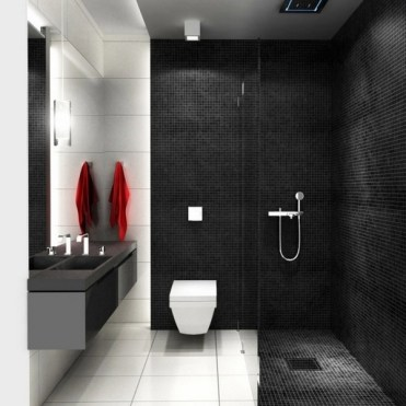 Idee-cabina-doccia-parete-in-vetro-piastrelle-bagno-moderne-bianco-e-nero