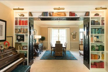 1-music-room-of-the-house-with-smart-and-simple-shelves-that-wrap-themselves-around-the-doorway