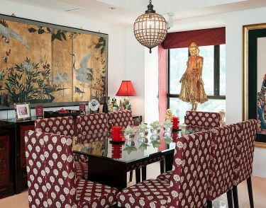 Asian-inspired-dining-room-filled-with-color-and-pattern